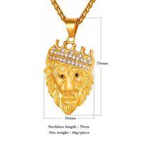 Wholesale Silver Lion Pendants - New Arrivals Hip Hop Gold Plated Lion Head Crown Pendant Necklace Fashion Jewelry for Men and Women