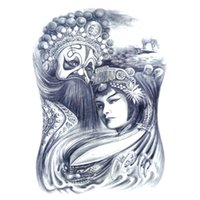 Wholesale Tattoo Traditional - Wholesale- Oriental Traditional Art Mask Sexy Beauty Makeup Body Art 3D Waterproof Temporary Tattoo Stickers