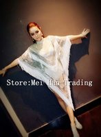 Wholesale stage sexy outfits - Silver White Sequins Tassel Outfit Female Singer Cloak Costume Stage Performance Wear Sexy Nightclub Party Paillette Clothing