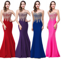 Wholesale Silk Royal Blue Prom Dress - 2017 Sexy Sheer Neck Sleeveless Designer Evening Dresses Mermaid Lace Appliqued Long Prom Dresses Red Carpet Cheap Bridesmaid Dress Under 50