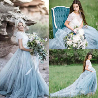 Wholesale Short Fairy Wedding Dresses - 2017 Fairy Beach Boho Country Lace Wedding Dresses A Line Soft Tulle Short Sleeves Light Blue Ruched Skirts Plus Size Bohemian Bridal Gown