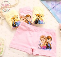 Wholesale Boxer Briefs Girls - In stock Europe and the United hot sell hot cartoon snow romance boxer briefs children cotton candy solid color four angle girls underwear