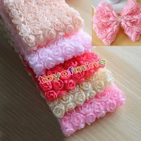 Wholesale Bridal Lace Yard - Wholesale-1 Yard 6 Row Chiffon Rose Flower Lace Edge Trim Wedding Bridal DIY Sewing Crafts
