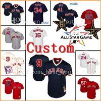 Wholesale Custom Jersey Embroidery - Custom Boston Red Sox 34# David Ortiz 9 Ted Williams Baseball Jerseys Chris Sale Benintendi Betts Pedroia Ramirez Embroidery jersey