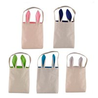Wholesale Bunny Clothing - 5 Colors Easter Bunny Bag Celebration Gifts Easter Hare Gifts Cotton Canvas Handbags Shopping Bag Easter Gift Storage Bags CCA7534 120pcs