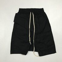 Wholesale Dress Sweatpants Men - 2017 New Black Shorts Kanye West Cool Sweatpants Mens Jumpsuit HIPHOP Rock Stage Urban Clothing Owens Dress Harem