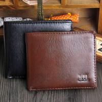 portefeuilles vintage marron achat en gros de-New Vintage PU Mens portefeuilles Fine Bifold Brown Noir PU Carte de crédit en cuir Cool tri fold Portefeuille pour hommes