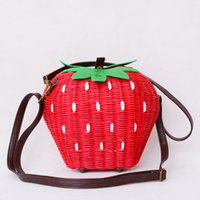 Wholesale Vintage Rattan Bags - Wholesale-2016 Fruit Bags Fashion Strawberry Hand-made Cane Women Shoulder Bags Beach Rattan Straw Girl Portable Handbag Vintage Casual