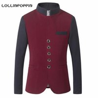 Wholesale Color Block Suit Jacket - Men Stand Collar Casual Blazers Color Blocking New 2017 Male Mandarin Collar Suit Jacket Single Breasted
