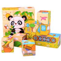 insectos juguetes de madera al por mayor-Bloques de construcción del cubo de los cabritos Rompecabezas de madera de la historieta Vehículos de los insectos de Animale Frutas 6in1 Juguetes coloridos de la inteligencia Bebés del bebé grandes regalos