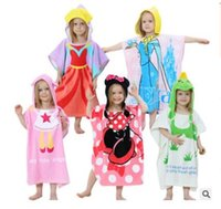 Wholesale Kids Hooded Beach Towels Wholesale - Baby Bathrobe Elsa Minnie Cartoon Robes Kids Hooded Nightgown Short Sleeve Beach Towels Costume Cotton Cute Causal New Baby Bath Cloth J495