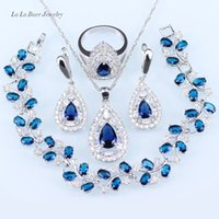 Wholesale Light Blue Stone Jewelry - Wedding Jewelry Sets silver 925 Black stone White Crystal For Women Pendant Necklace Bracelet Earrings Ring