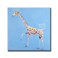 Wholesale Abstract Canvas Art For Sale - Hand painted free shipping funny giraffe oil painting top quality cartoon animal wall pictures original art for sale