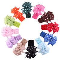 Wholesale Acessories Kid - Wholesale- Children Headbands Cloth girl hair band flower Head bows infant Wear Hair Wave Bandeau bow knot kids clips ties hair acessories