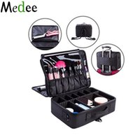 Wholesale Makeup Suitcases - Wholesale- Medee 2016 Hot High Quality Professional Black Makeup Organizer Cosmetic Case Travel Large Capacity Storage Bag Suitcases UBM052