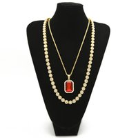 """Wholesale Square Rope - Men's Hip hop Jewelry Set 30"""" lced Out Rhinestone 1 Row Round Necklace Chain With Square Red Blue Crystal Pendant Necklace"""