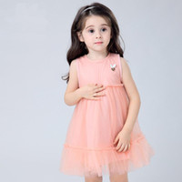 Wholesale Drop Ship Bohemian Dress - Baby And Kids Clothing New Girl's Dresses Cotton Four Color Dress Without Sleeve 5pcs lot drop shipping