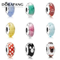 Wholesale DORAPANG Sterling Silver Jewelry Loose Beads Cord Screw Thread Hole Handmade Lampwork Charms Fit Pandora Bracelet Bangle DIY Women
