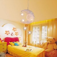 Wholesale Lighted Star Ceiling Kids - Modern LED Moon & Star Children Kid Child Bedroom Pendant Lamp Chandelier Ceiling Light Aluminum Pendant Light with 5pcs G4 Led Bulbs
