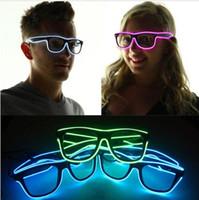 Wholesale Light Up Costume Men - Simple el glasses El Wire Fashion Neon LED Light Up Shutter Shaped Glow Sun Glasses Rave Costume Party DJ Bright SunGlasses CF28