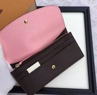 Wholesale Purse Box Free - 2017 Free shipping Wholesale lady multicolor coin purse long wallet colourfull Card holder original box women classic zipper pocket 60138