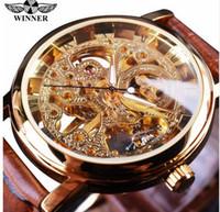 kahverengi saat kayışları toptan satış-Kazanan Şeffaf Altın Durumda Lüks Rahat Tasarım Kahverengi Deri Kayış Erkek Saatler Üst Marka Lüks Mekanik İskelet İzle