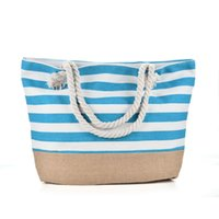Wholesale Red Sea Lighting - Blue Stripes Beach Bag Light type Canvas Zipper Woman Handbag Ladies Sea Travel Bag Casual Totes Shoulder Bags Tote QQ2145