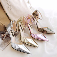 Wholesale Hight Heels Party - 2017 women spring and summer sandals mirror with sandals buckle side of the thin hight heel shoes with solid color sandal