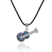 Wholesale Green Guitar Wholesale - Cartoon Silver Plated Carved Guitar Abalone Shell Retro Bohemian Rhinestone Pendant Brass Buckle Black Korea Wax Necklace Best Gifts