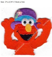 "Wholesale Elmo Applique - 3"" SESAME STREET ELMO PURPLE HAT patch Comics TV MOVIE series Costume Embroidered Emblem applique sew on iron on badge"