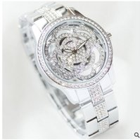 Wholesale Quartz Crystal Carvings - Arrival BS Brand Full Diomand Hollow carved Rose Flower Watch Women Luxury Austrian Crystals Watch Lady Rhinestone Bracelet
