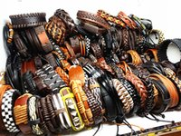 Wholesale vintage leather bracelets - wholesale assorted retro vintage men's women's top surfer Genuine Leather ethnic tribal cuff bracelets mix different styles brand new