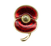 """Wholesale First Stainless Steel - Wholesale- Ode of Remembrance Red Enamel Poppy Brooch First World War Centenary Badge Engraved with Poem """"For the Fallen"""""""
