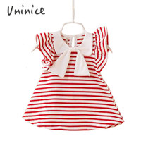 Wholesale Girls Stripped Tops - Wholesale- Baby Toddler Girl Kids Cotton Outfit Clothes Top Bow-knot Strip Dress infant baby sleeveless mini vestidos Drop shipping navy