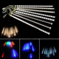 Wholesale Rain Shower Light - 20CM 30CM 50CM Meteor Christmas lights Outdoor decoration waterproof Blue White RGB Snowfall Rain LED Shower Light Tubes