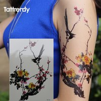 Wholesale Tattoos Chinese Eyes - Wholesale- Chinese monochromes Wintersweet Flower Bird Tattoo Series Black Ink and Wash Waterproof Temporary Tattoos Stickers Arm Leg body