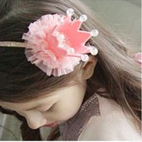 Wholesale Imperial Crown Dress - Wholesale- 2017 Fashion Girls Kids Headband Lovely Lace Princess Imperial Crown Hairband For Baby Bling Head Dress Turban Hair Accessories