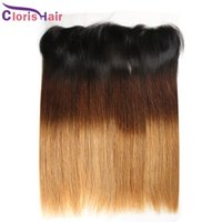 Ear-Ear Full Frontals Pièces 13x4 soie Straight Malaysian Human Hair Lace Frontal Fermeture Ombre 1b / 4/27 Top fermetures pour tisser