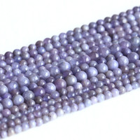 """Wholesale Natural Blue Tanzanite - Wholesale Natural Genuine Blue Tanzanite Round Loose Beads 4-6mm DIY Jewelry Necklaces or Bracelets 15"""" 05001"""