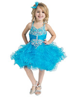 Wholesale Turquoise Infant Dresses - 2017 Turquoise Glitz Girls Pageant Cupcake Dresses Infant Tutu Gowns Toddler Halter Rufless Pageant Dress