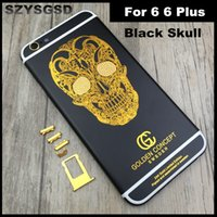 Wholesale Pattern Houses - Black Skull For Iphone 6 6 Plus Housing Matte Black Engraved Gold Skull Pattern Metal Back Cover Housing with Logo Buttons