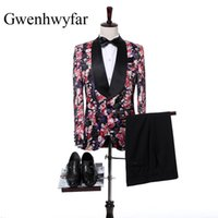 Wholesale Tuxedo Gorgeous Suits - Gorgeous Flower Pattern Men Suits Custom Black Shawl Lapel Groom Tuxedos Wedding Best Man Blazer 2 Pieces Sets(Jacket+Pants+Tie)