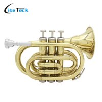 Wholesale B Flat Trumpet - wholesale LADE Professional Pocket Trumpet Tone Flat B Bb Brass Wind Instrument with Mouthpiece Gloves Cloth Brush Grease Hard Case