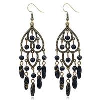 pendientes de plastico vintage al por mayor-Bohemian Plastic Beads pendientes largos para la boda de la mujer Vintage Antique Gold Hollow pendiente de gota joyería étnica india