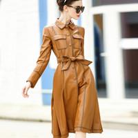 Wholesale Woman Sheep Coat - Autumn Female Coat 2017 European and American Luxury Brand Women's Leather Girls Long Sheep Leather Coat
