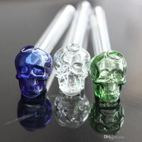 "Wholesale Black Skull Glasses - 5.5""inch Lenght Skull Glass Bowl Oil Burners Thick colorful Glass Pipe for Smoking"