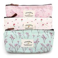 Wholesale Flower Pencil Cases - Flower Floral Pencil Pen Canvas Case Cosmetic Makeup Tool Bag Storage Pouch Purse