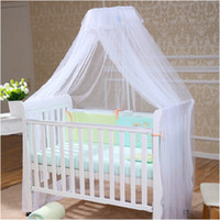 Wholesale Baby Crib Canopy Netting - Wholesale-2015 Hot Sale Baby Crib Canopy Tent Kids Crib Mosquito Net White Color Baby Infant Kids Bed Net Cortina Para Cama Dossel