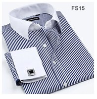 Wholesale Dress Shirt White French - Wholesale- Striped Twill Shirt Men French Cuff Long Sleeve Mens Dress Shirts Slim Fit Business 2016 Spring New Male Blouse Plus Size