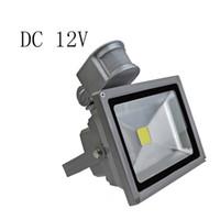 Wholesale Search Light 12v - Wholesale-DC 12V 10W 20W 30W 50W PIR LED flood Light search projector lamp motion detective Sensor lamp